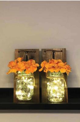 2'li Set Kahve Ahşap Aplik Ortanca Çiçekli Led Işıklı