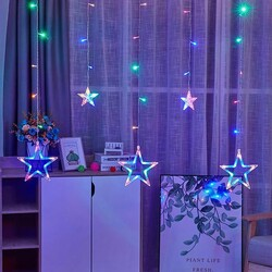 2x1 Metre Yıldızlı Sarkıt Led Perde - Yıldız Perde Led Işık Saçak Led - Thumbnail