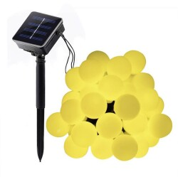 Ledreyon - 5 Metre Güneş Enerjili Solar Dış Mekan İp Top Led Işık Dekoratif Aydınlatma