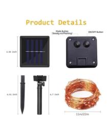 5 Metre Güneş Enerjili Solar Dış Mekan Peri İp Led Işık - Thumbnail