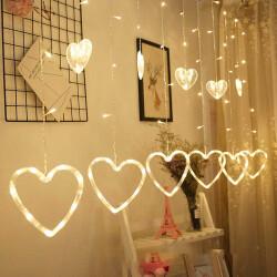 Animasyonlu Kalpli Perde Led Işık Dekoratif Sarkıt Aydınlatma - Thumbnail
