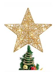 Led Işıklı Yılbaşı Ağacı Tepe Yıldızı Yılbaşı Süsleri Gold - Thumbnail
