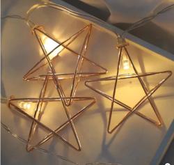 Ledreyon - Pilli Metal Gold Yıldızlı Led Işık Yıldız Led İp Led