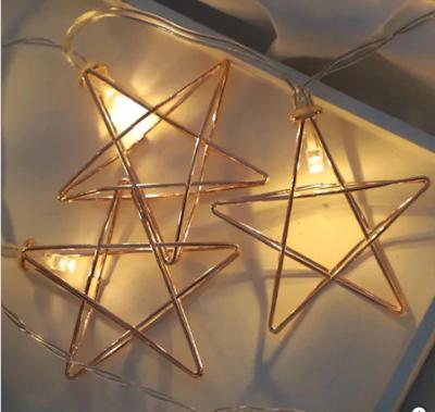 Pilli Metal Gold Yıldızlı Led Işık Yıldız Led İp Led