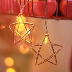 Pilli Metal Gold Yıldızlı Led Işık Yıldız Led İp Led - Thumbnail