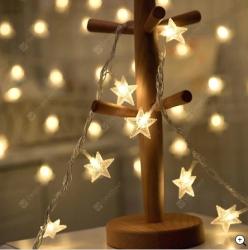 Ledreyon - Pilli Yıldızlı İp Led Işık - 6 Metre - Günışığı