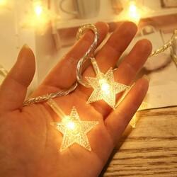 Yıldızlı İp Led Işık Süs - 2 Metre - Fişli Yıldız Led - Thumbnail